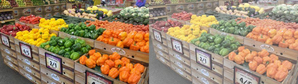 vegetables shot log phone compare